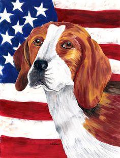 USA American Flag with Beagle Flag Canvas House Size