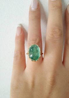 The ring Tamlin gives to Feyre - Emerald ring Unique engagement ring 18K Solid Yellow Gold