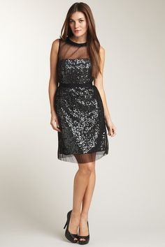 Phoebe Couture  Illusion Neckline Pleated Overlay Sequin Dress