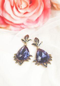 Vintage Inspired Crystal Navy Teardrop Earrings