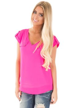Lime Lush Boutique - Fuchsia Chiffon V Neck Top with Studded Detail, $29.99 (https://www.limelush.com/fuchsia-chiffon-v-neck-top-with-studded-detail/)