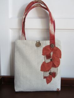 White tote bag, Orange tote bag, checked tote bag, Red purse, Brown tote, book bag, Orange purse, Applique purse, Handbag, Flower purse