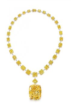 "Graff's latest catch is being called ""The Golden Empress,"" a 132.55-carat Fancy Intense cushion-cut yellow diamond. The diamond is set on a necklace with approximately 30 other yellow diamonds. Fancy colored diamonds are very popular these days as adornment and investment, because of their beauty and rarity. Only one in 10,000 diamonds discovered are classified as fancy colored. So it's even rarer to find one a particular color, such as this yellow diamond."