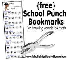 Free School Punch Bookmarks