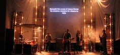 Scrim Tower Lights from The Crossing in Keokuk, IA | Church Stage Design Ideas