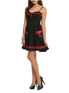 Hell Bunny Red and Black Sailor Dress. Gently Used (nabbed it from a thrift store) Size is L. Bust 17 W 15-16.5, L 34 (from top of strap)