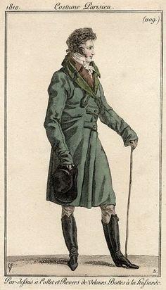 Men's Hussar-style overcoat, 1810.