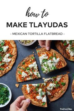 Tlayudas (Mexican Tortilla Flatbread) With Carrot Salsa & Herb Salad Mexican Street Food, Vegan Mexican Recipes, Ethnic Recipes, Good Food, Yummy Food, Healthy Food, Healthy Eating, Healthy Recipes, Flatbread Recipes