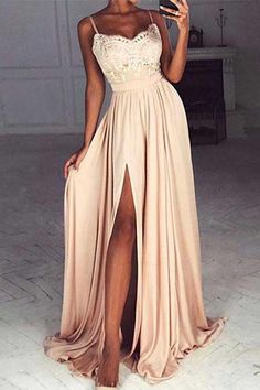 Princess Prom Dress, champagne sweetheart lace long prom dress formal dress sexy slit prom dress woman dress chiffon prom dress charming prom dresses OK Bridal Straps Prom Dresses, Prom Dresses 2018, Cheap Prom Dresses, Sexy Dresses, Dress Prom, Split Prom Dresses, Dance Dresses, Bridesmaid Dresses, Petite Prom Dress