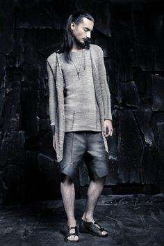 SS16 CRUST OF MOON Sleeveless Cardigan, Knit Cardigan, Leather Shorts, Leather Sandals, Male Poses, Ss16, Normcore, Menswear, Moon