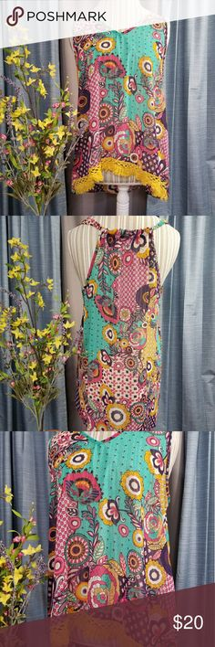 🌻🌺🌻UMGEE TANK/TUNIC/DRESS!! SIZE:large   BRAND:Umgee   CONDITION:very good except for last pic where the hem has frayed loose near the tag. This is inside the shirt and cannot be seen when wearing it.   COLOR:teal/pink/purple/yellow/orange/white  Has cute fringe trim in the front and is hi-low design.     🌟POSH AMBASSADOR, BUY WITH CONFIDENCE!   🌟CHECK OUT MY OTHER ITEMS TO BUNDLE AND SAVE ON SHIPPING!   🌟OFFERS WELCOME!   🌟FAST SHIPPING! Umgee Tops