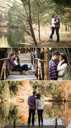 Nyk + Cali Wedding Photographers | Nashville, TN | Historic Cedarwood | Engagement | Fall | Plaid | Lake | Woods | Romantic | Wood Bridge | Love | Laughter | Dock | Fall Leaves | Reflection |