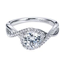 Beautiful Gabriel & Co. .25 Carat, White Gold, Contemporary Criss Cross Engagement Ring-available at Westshore Diamond!