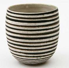 pottery, striped urn