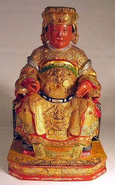 chinese carved wooden gods | chinese wooden gods | CHINESE CARVED WOOD FIGURE OF EMPEROR ON ...
