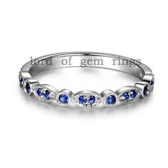 Wedding band! <3  Milgrain Antique Art Deco Sapphires Diamonds 14K White Gold Half Eternity Band Wedding Anniversary Ring