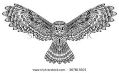 Vector hand drawn flying owl. Black and white zentangle art. Ethnic patterned illustration for antistress coloring book, tattoo, poster, print, t-shirt.