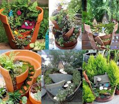 Creative DIY Garden Containers and Planters from Recycled Materials --> Broken Pots Mini Fairy Garden Container Gardening, Gardening Tips, Fairy Gardening, Organic Gardening, Urban Gardening, Flower Gardening, Indoor Gardening, Flowers Garden, Broken Pot Garden
