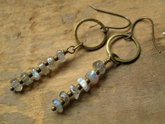Labradorite Earrings, Rustic Earrings with brass and blue flash labradorite