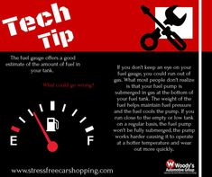 "Tech Tip Tuesday 🔧🔩  Remember when we would all play, ""Let's see how far I can go before I run out of gas!"", game? Saaaame. That's super bad for your vehicle! 😳 #techtuesday #stressfreecarshopping"