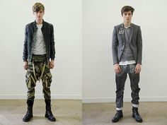 Selectism - Balmain Spring 2011 Looks Top Fashion, Mens Fashion, Fashion Outfits, Balmain Leather Jacket, Stylish Men, Men Casual, Grunge Boy, Camo Pants, Trends