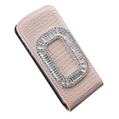 Crystal Diamond Bling Case Cover Protector for iPhone 5 & 5S Flip Leather: PINK