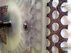 rust mesh and wheel c-up 2 Assemblage Art, Rust, Door Handles, Wax, Home Decor, Decoration Home, Room Decor, Door Knobs, Door Pulls