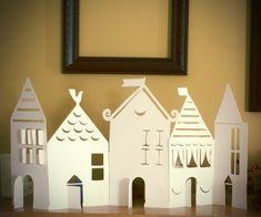 Paper village silhouette
