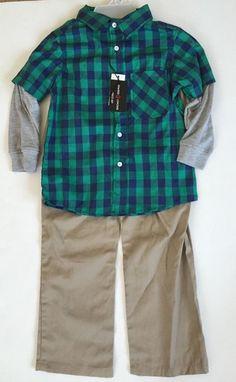 Swiss Cross Toddler Boys 2pc Shirt Ls Wvn Twill Pant Set Size 5 Msrp40$ #SwissCross #Everyday