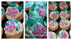 Frozen theme cupcakes - used boiled sugar as crystals