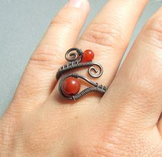 #Carnelian rustic ring #red stone #rustic look #ring #birthstone
