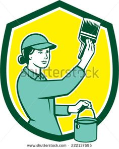 Illustration of a female house painter painting holding paintbrush and paint can set inside shield crest on isolated background done in retro style. Painting Logo, House Painter, Retro Vector, Paint Cans, Paint Brushes, Retro Fashion, Retro Illustrations, Stock Photos, Vector Stock
