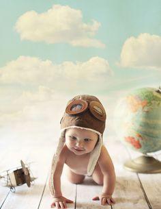 baby photography ideas, 6 month baby, vintage, airplane, pilot, bolivar missouri photographer