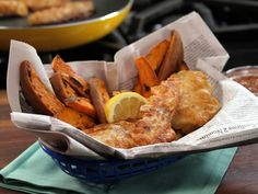 Lighter Beer Battered Fish and Roasted Sweet Potato Fries -  333 Calories and only 8 Grams of fat per serving. Since this is one of my favorite meals I am so glad to find a recipe that I can actually eat more than once every two months.