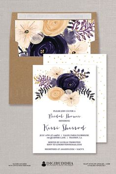 "Plum Watercolor Floral Bridal Shower invitation in ""Kerri"" style available at digibuddha.com"