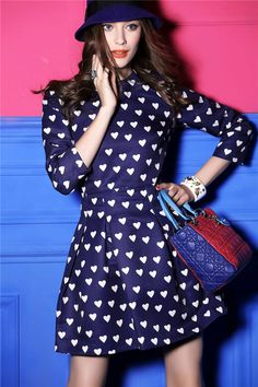 Blue Long Sleeve Heart Pattern Ruffle Dress