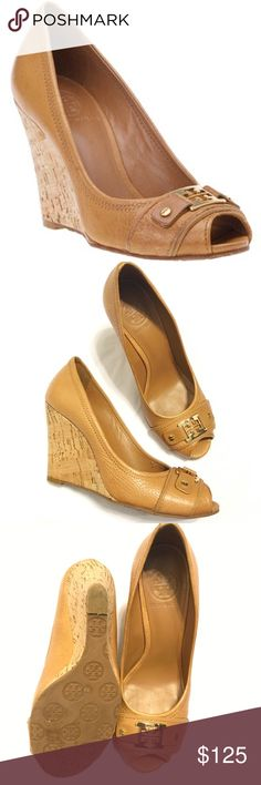 Tory Burch Carnell Wedge Tory Burch Carnell peep toe wedge. Beautiful, comfy, classic, like new shoe in brown leather with a 4inches cork heel. Shoes have been worn once but only sign of wear is where the sole meets the ground. No scuffs, tears or damage. Tory Burch Shoes Wedges