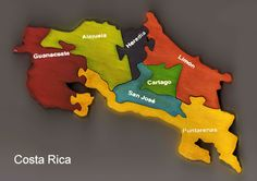 Map of the 7 providences of Costa Rica