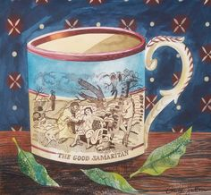 """""""The Good Samaritan"""" by Emily Sutton from the """"Victorian Crockery"""" series (watercolour)"""