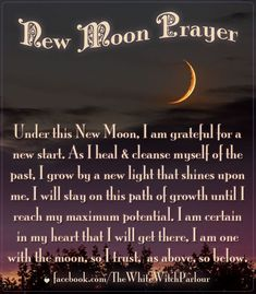 new, moon, intentions, luna, prayer, chant, spell, affirmation, phase, transformation, beginning, spiritual, book of shadows, growth, wish,magic, magick #whitewitchparlour facebook.com/Thewhitewitchparlour http://www.witchcraft.com