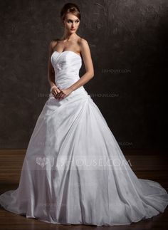 Ball-Gown Sweetheart Chapel Train Ruffle Lace Beading Sequins Lace Up Strapless Sleeveless Church General Plus No Winter White Taffeta Wedding Dress