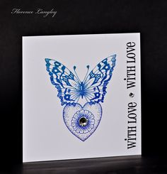 Butterfly CAS card using Chocolate Baroque Fluttering Hearts rubber stamps