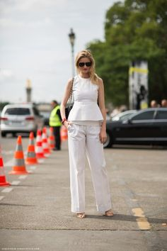 Women's white on white - wide trousers and a peplum