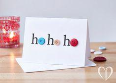 Assorted Handmade Button Christmas Card by CookieDesignCards à Faire Homemade Christmas Cards, Christmas Cards To Make, Noel Christmas, Diy Christmas Gifts, Christmas Projects, Homemade Cards, Handmade Christmas, Christmas Decorations, Christmas Buttons