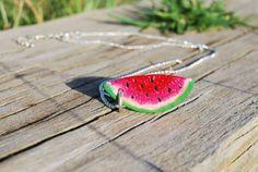 Watermelon slice pendant by Hybridary on Etsy, €7.00