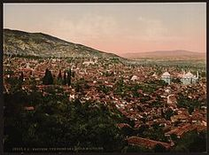 """A view of Bursa in the 1890s-Bursa was the first major capital of the Ottoman State between 1335 and 1363. The city was referred to as Hüdavendigar (meaning """"God's gift"""") during the Ottoman period, while a more recent nickname is Yeşil Bursa (meaning """"Green Bursa"""") in reference to the parks and gardens located across its urban fabric, as well as to the vast and richly varied forests of the surrounding region."""