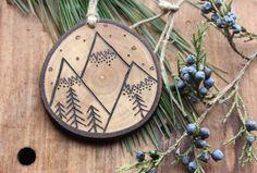 Mountains Ornament Natural Wood-Burned by bytherockandweed on Etsy