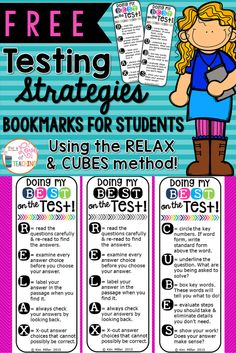 FREE Testing Strategies Bookmarks for Students! Using the RELAX and CUBES mnemonics.