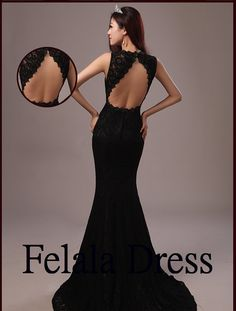 Lace prom dress 2014 black evening dress / long by FelalaDress, $149.00