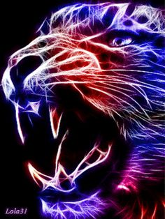 Report image. Colorful Neon Tiger.